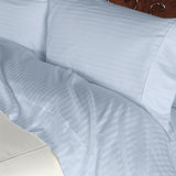 Luxury 600 Thread Count 100% Egyptian Cotton Queen Sheet Set Striped In Light Blue
