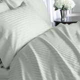 Luxury 600 Thread Count 100% Egyptian Cotton Queen Sheet Set Striped In Sage/Light Green