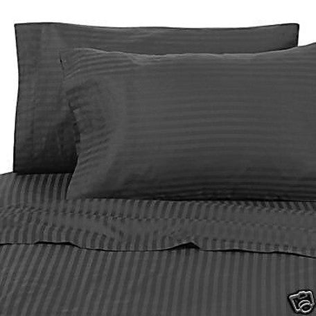 Luxury 300 TC 100% Pure Egyptian Cotton Twin Sheets Set Striped in Black