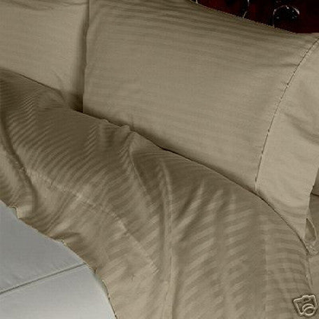 Luxury 600 Thread Count 100% Egyptian Cotton Queen Sheet Set Striped In Taupe