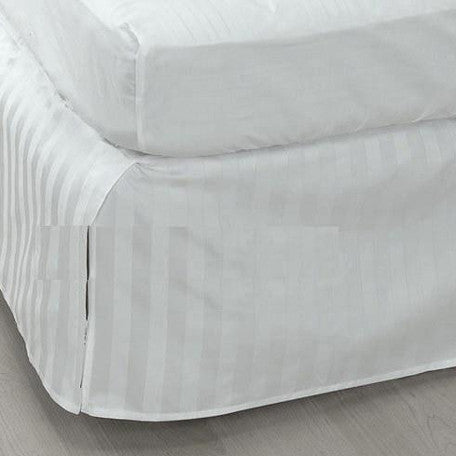 Luxury 300TC 100% Pure Egyptian Cotton Striped Bed Skirt in White