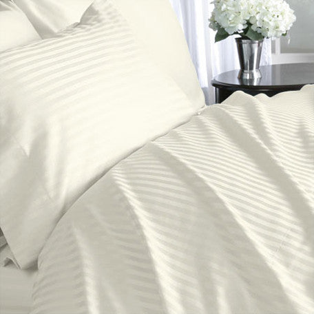 Luxury 300 TC 100% Pure Egyptian Cotton Twin Sheets Set Striped in Ivory