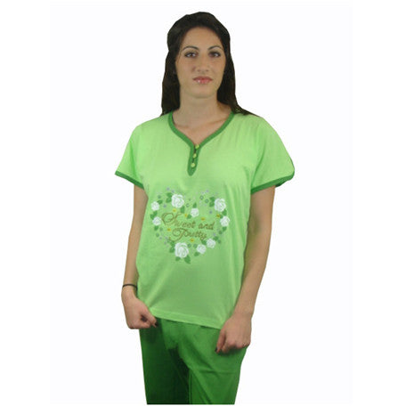 Sweet & Pretty 100% Pure Egyptian Cotton Pajama In Green