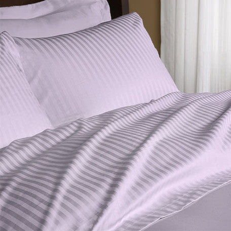 Luxury 600 Thread Count 100% Egyptian Cotton King Sheet Set Striped In Lavender