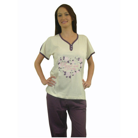 Sweet & Pretty 100% Pure Egyptian Cotton Pajama In Ivory/Cream