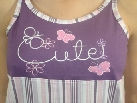 Cute 100% Pure Egyptian Cotton Pajama In Purple