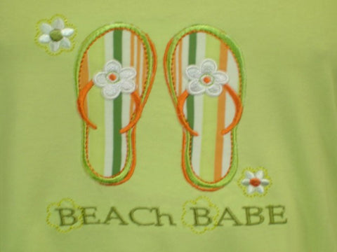 Beach Babe 100% Pure Egyptian Cotton Pajama In Lime