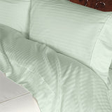 Luxury 600 TC 100% Egyptian Cotton California King Sheet Set Striped In Sage/Light Green - Anippe