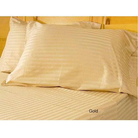 Luxury 600 Thread Coun 100% Egyptian Cotton King Sheet Set Striped In Gold