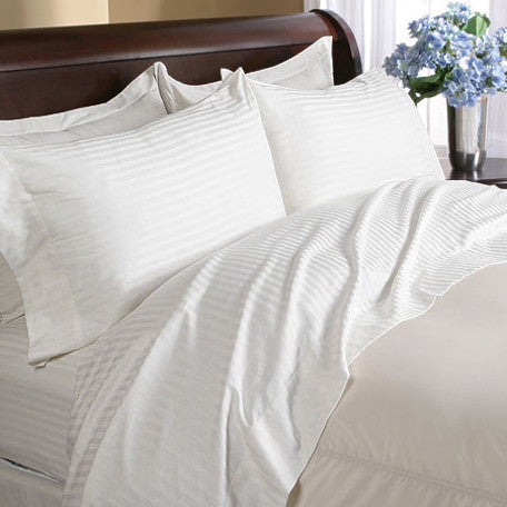 Luxury 4 PC 600 Thread Count 100% Egyptian Cotton King Size Sheet Set Striped In Ivory/Cream