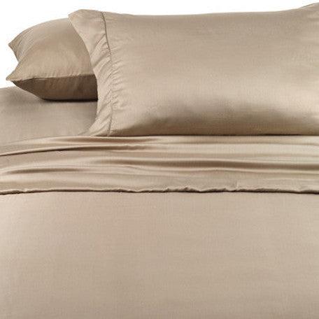 Luxury 1000 Thread Count 100% Cotton Full  Sheet Set Solid In Taupe