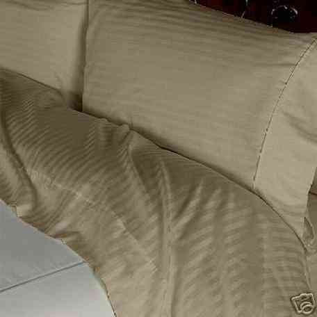 Luxury 1000 TC 100%  Cotton Full  Sheet Set Striped In Taupe