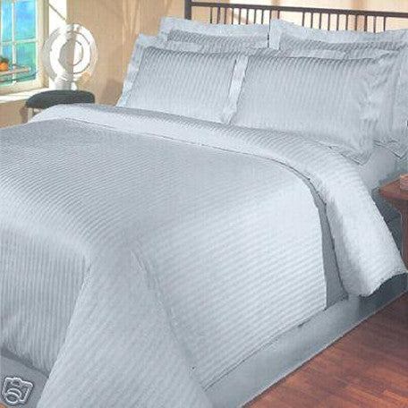 Luxury 1000TC 100% Egyptian Cotton Duvet Cover - Full/Queen Striped in Light Blue