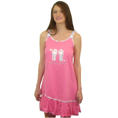 Beach Babe 100% Pure Egyptian Cotton Pajama In Fuchsia
