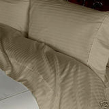 Luxury 4 PC 600 Thread Count 100% Egyptian Cotton King Size Sheet Set Striped In Taupe - Anippe