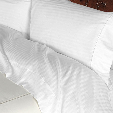 Luxury 600 Thread Count 100% Egyptian Cotton King Sheet Set Striped In White