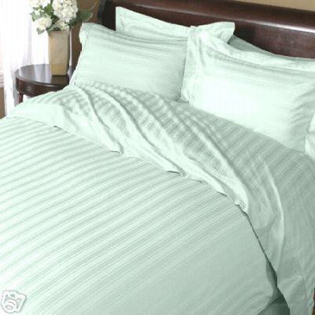 Luxury 1000TC 100% Egyptian Cotton Duvet Cover - Full/Queen Striped in Sage
