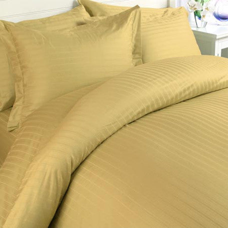 Luxury 1000 Thread Count 100% Egyptian Cotton Full Sheet Set Striped In Gold