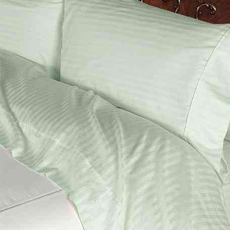 Luxury 1000 TChread Count 100% Egyptian Cotton Full Sheet Set Striped In Sage