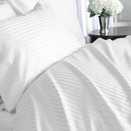 Luxury 1000 TC 100%  Cotton Full Sheet Set Striped In White