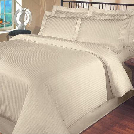 Luxury 1000TC 100% Egyptian Cotton Duvet Cover - King/Cal King Striped in Beige
