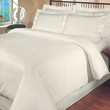 Luxury 1000TC 100% Egyptian Cotton Duvet Cover - King/Cal King Striped in Ivory