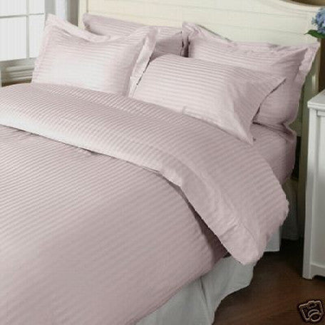 Luxury 1000TC 100% Egyptian Cotton Duvet Cover - King/Cal King Striped in Rose