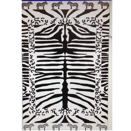 Luxury 100% Egyptian Cotton Zebra Velour Beach Towel