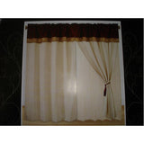 "Luxury Cleopatra Suede Burgundy/Beige 60""x84"" Window Curtain with Lining and 18"" Valance"