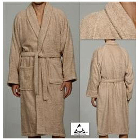 Luxury 100% Cotton Bathrobe Terry Cloth Robe Spa Robes In Taupe
