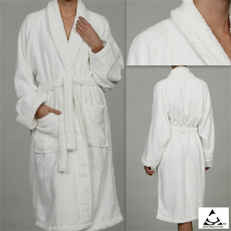 Luxury 100% Cotton Bathrobe Terry Cloth Robe Spa Robes In White