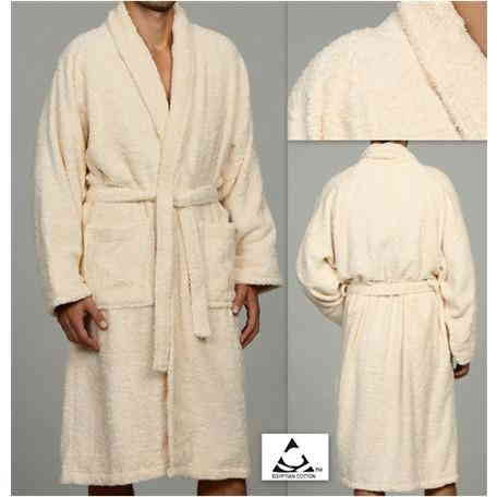 Luxury 100% Cotton Bathrobe Terry Cloth Robe Spa Robes In Ivory