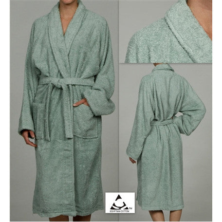 Luxury 100% Cotton Bathrobe Terry Cloth Robe Spa Robes In Sage