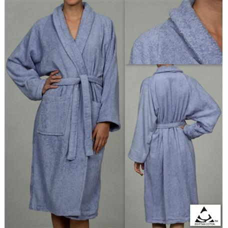 Luxury 100% Cotton Bathrobe Terry Cloth Robe Spa Robes In Blue