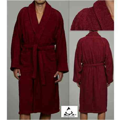 Luxury 100% Cotton Bathrobe Terry Cloth Robe Spa Robes In Burgundy