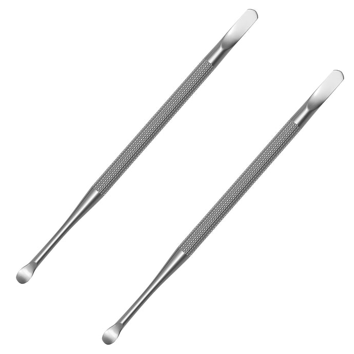 Professional Cuticle Pusher and Spoon Nail Cleaner (2 Pack) - Dual Sided Stainless Steel Pusher and Nail Cleaner