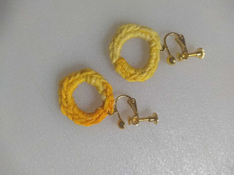 Crochet Earrings Small Single Circle Screw Back