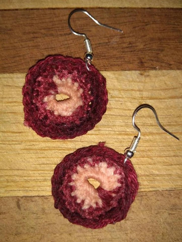 Crochet Earrings Double Circle Pierced Burgundy Rose