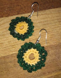 Crochet Earrings Double Circle Ruffled Green and Yellow Pierced