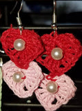 Crochet Earrings Double Heart Drop with Pearl Pierced