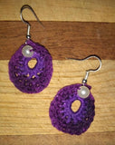 Crochet Earrings Double Oval with Pearl Pierced