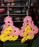 Crochet Earrings Linked Double Triangle Pink and Yellow Pierced