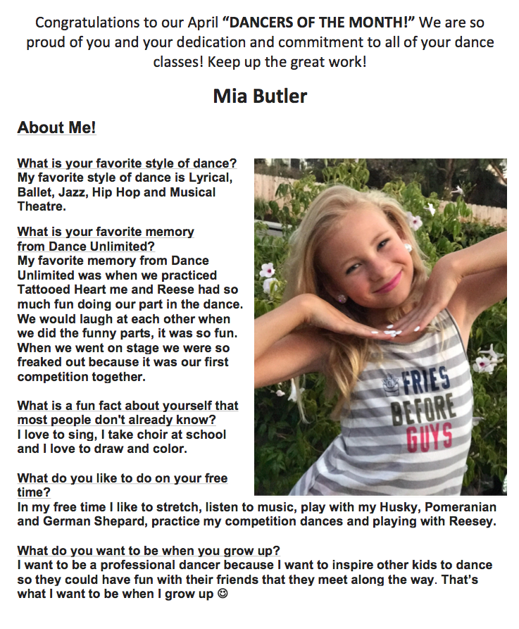 Dancers of the Month April 2018 - Mia Butler