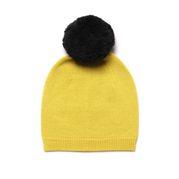 Pom Pom Hat Bright Yellow