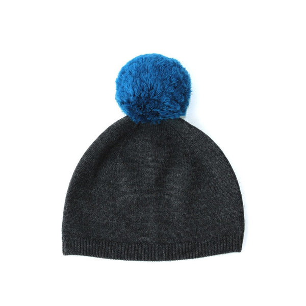 Pom Pom Hat Dark Grey