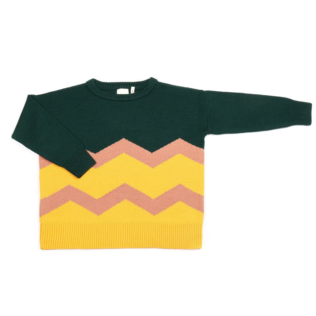 Wavy Jumper Forest Green / Yellow