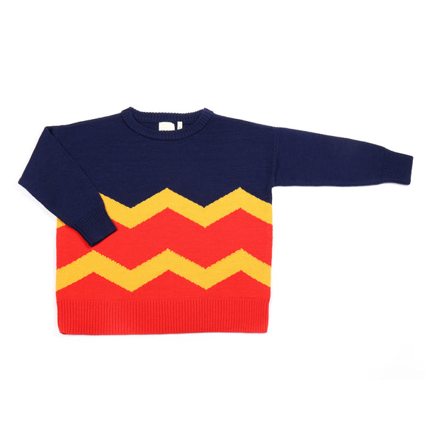 Wavy Jumper Navy / Yellow