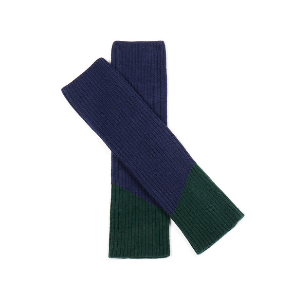 Contrast Leg/Arm Warmer Navy/ Green