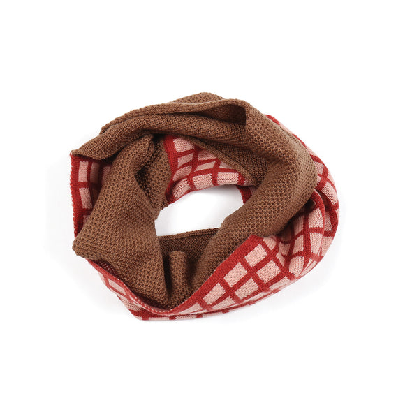 Grid Snood Brown/Rose