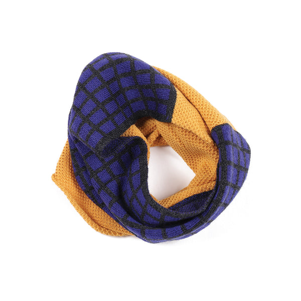 Grid Snood Mustard/Indigo